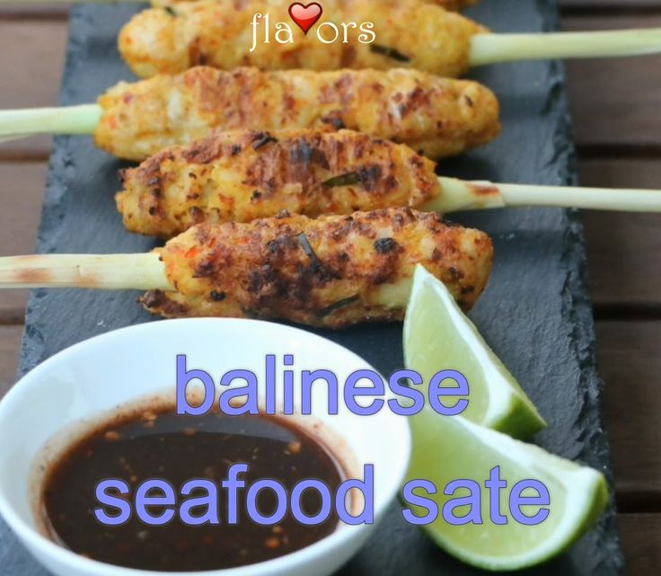 BALINESE SEAFOOD SATE (Sate Lilit). These sate' are so tasty - none will ever be left over. Throw some fresh flavors on your BBQ with this winner. The lemongrass stalks impart a lovely flavour as you bite the seafood off them - and look super stylish too. Full recipe in the YouTube link.