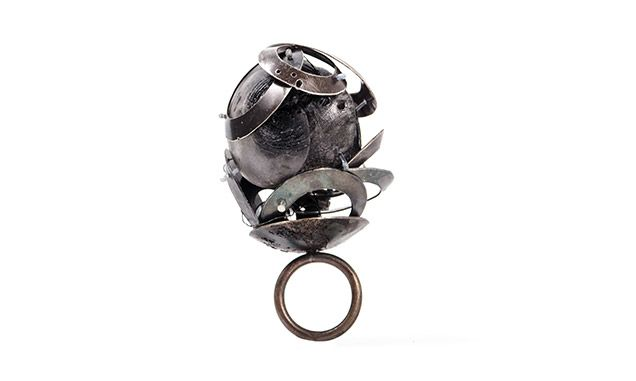 "Ismini Pachi - ""Solitude"" ring - Black iron white metal silver pvc monofilament magnet:"