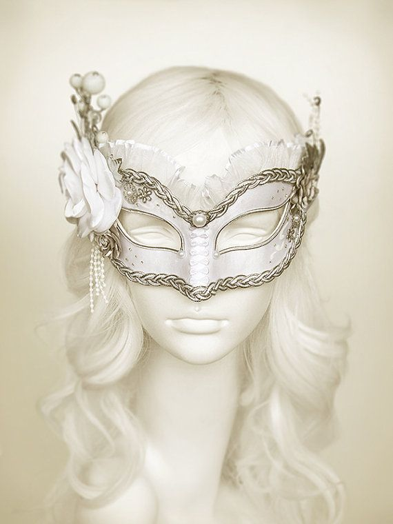 White & Silver Masquerade Mask With Various Accents - Venetian Style Masquerade Ball Mask With Satin Roses, Rhinestones, Branches, Glitter