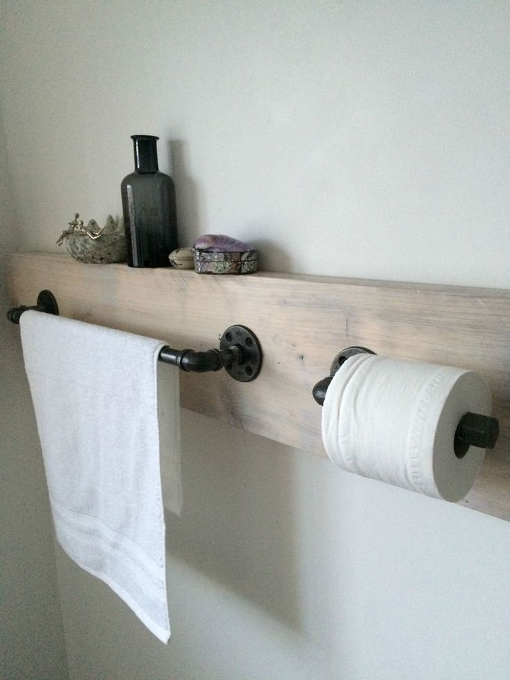 Handcrafted Steel Pipe Towel Rail and Toilet Roll Holder Industrial/Modern/Urban