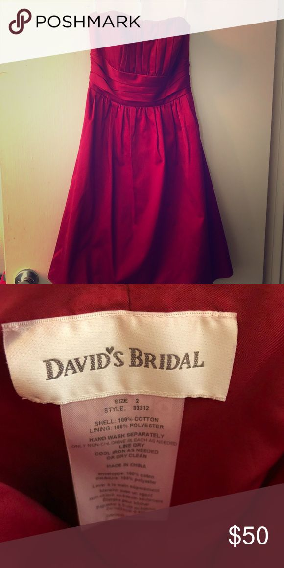 Cherry Red David's Bridal bridesmaid dress. Size 2 Worn once Good condition David's Bridal Dresses Strapless