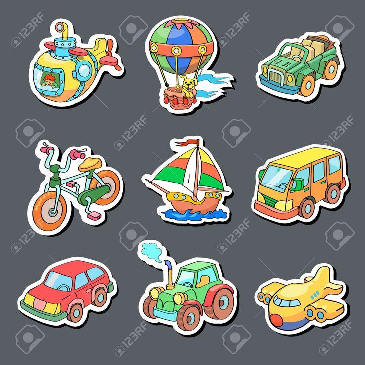Colección De Dibujos Animados De Los Iconos De Transporte - Pegatinas De Colores Ilustraciones Vectoriales, Clip Art Vectorizado Libre De Derechos. Image 36321430.