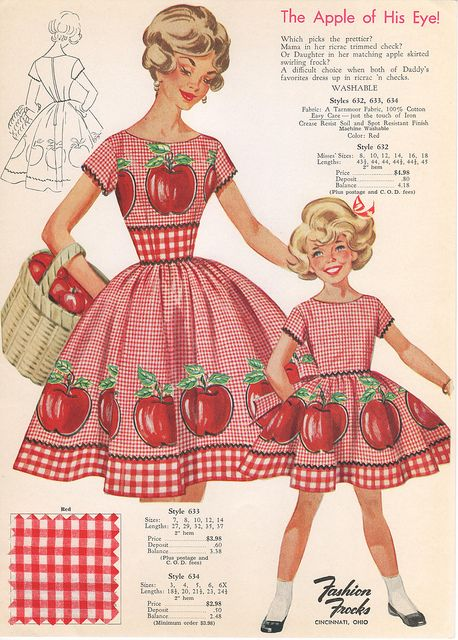 I actually made matching outfits for my daughter and me sometime in the early 60's.  They were red and white checked also but not with apples.  Nice memories.