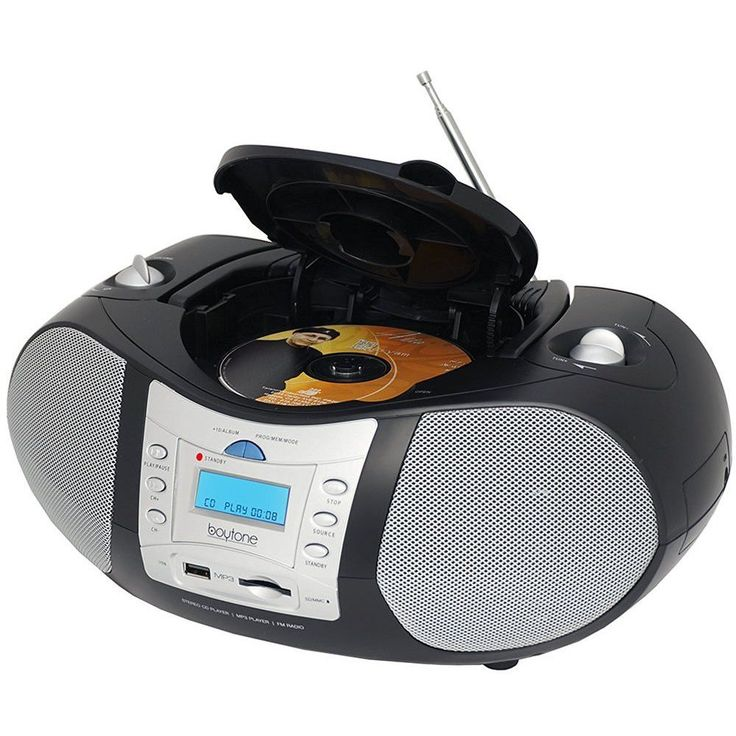 Boytone BT-6B CD Boombox Black Edition Portable Music System with CD Player & USB/SD