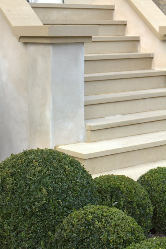wider step at bottom like this, but bullnose edge and different capping on ends (not sawn edge) wimbledon-sawn-yorkstone-garden-design