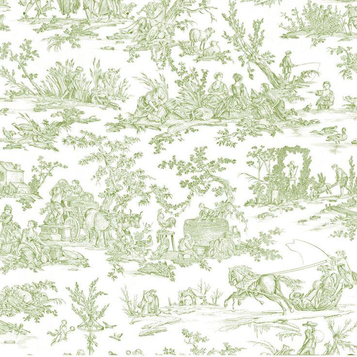 Toile de Jouy - Délices des 4 Saisons vert clair
