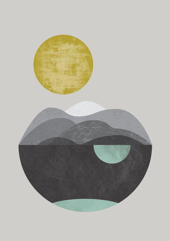 Sun Dunes art prints giclee abstract minimalist by FLATOWL on Etsy