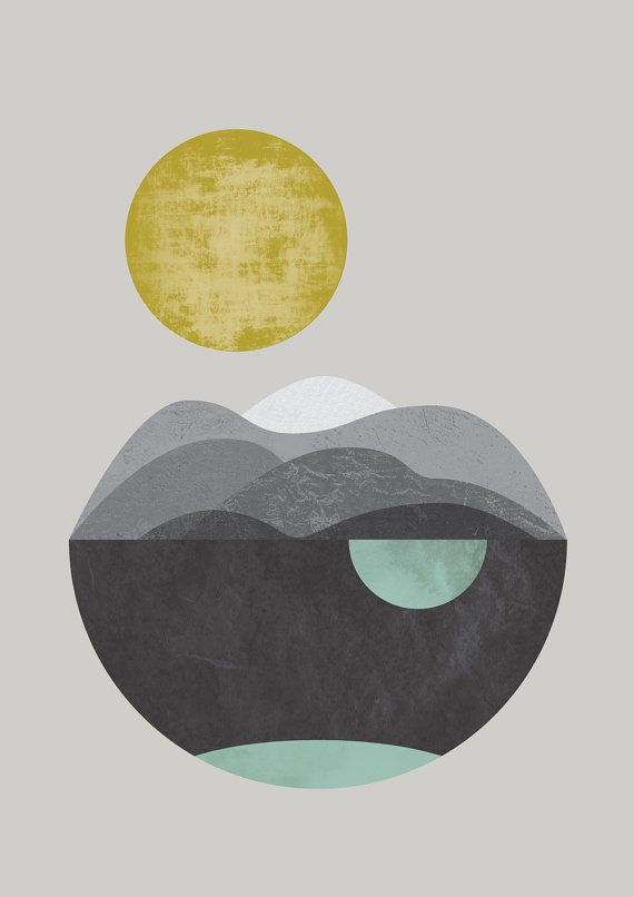 Dunes giclee art print abstract art watercolour print by FLATOWL