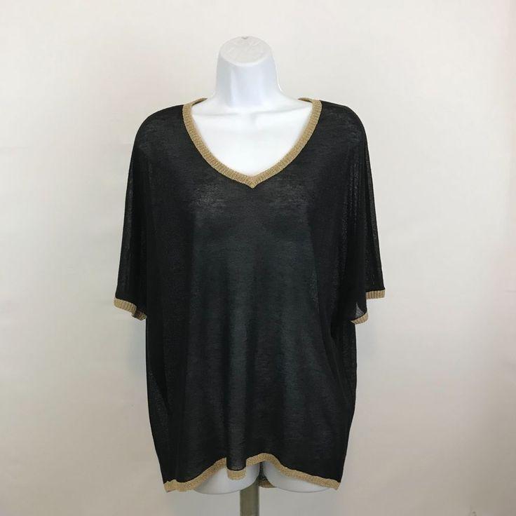 Mona Leah Couture Womens Top Black Sheer Shirt Metallic Gold Trim V Neck Sz L  #MonaLeahCouture #Blouse #EveningOccasion
