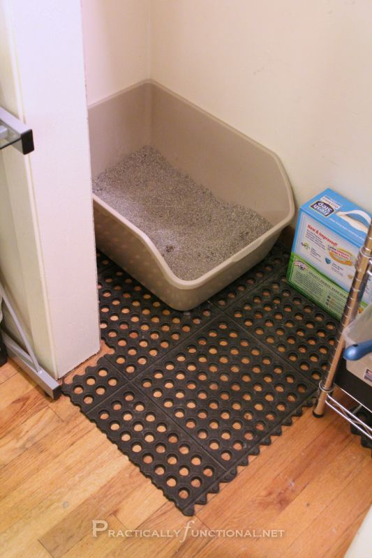 Keeping The Litter Box Area Clean by buying rubber garage tiles at a home improvement store and placing them under the litter box. The litter gets trapped in the holes and not tracked all over the house! Works better than the litter-trapping mats that are sold in pet stores!
