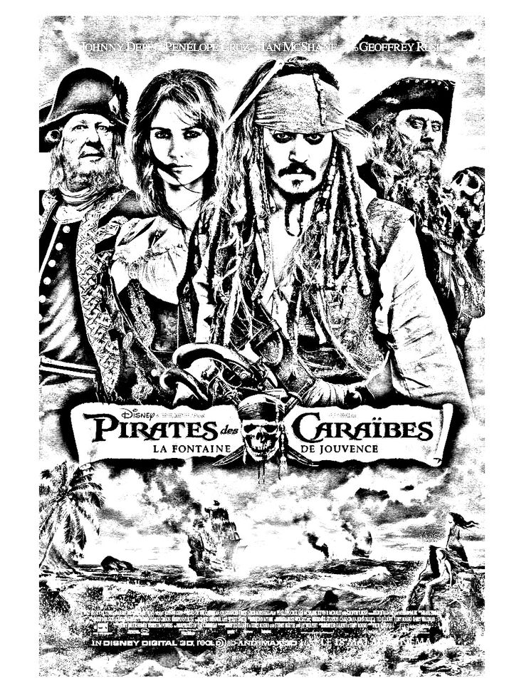 Free coloring page coloring-movie-pirates-des-caraibes-4. Pirates of the caribbean ... with Johnny Depp