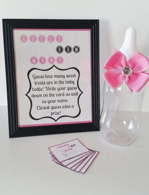Guess How Many Baby Shower Game M M Game Pink Game Sign Baby Girl
