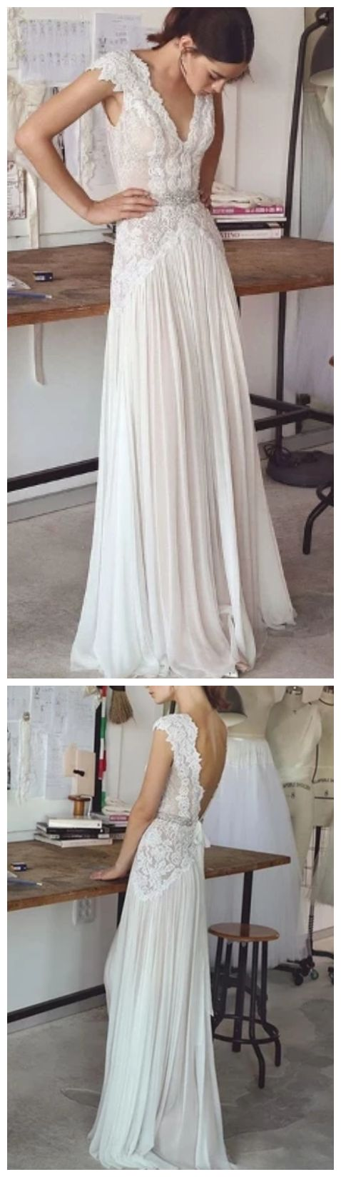 2019 Beach Boho Wedding Dresses Backless Bohemian Lace Tulle Bridal Dress Prom Gown