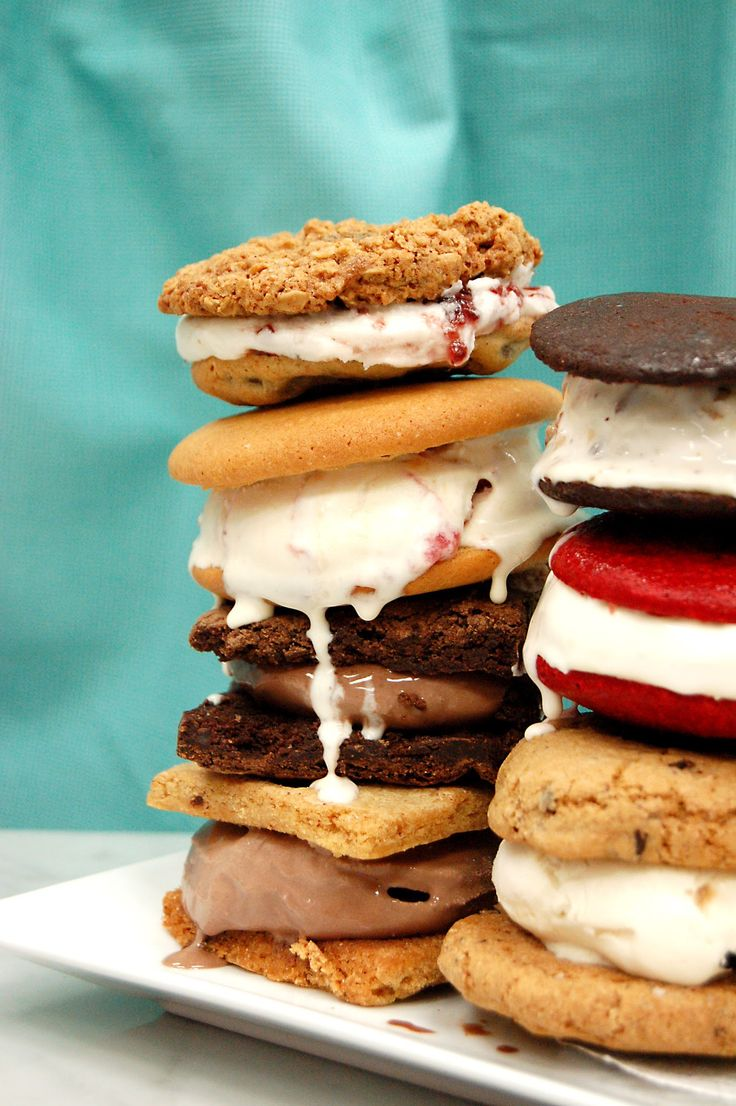 We offer a variety of ice cream sandwiches, all made with Ronnybrook's vanilla or chocolate ice cream.
