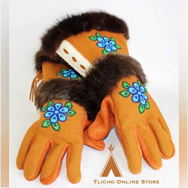 Gauntlet #Dene Gloves made in #Behchoko, NT available at http://onlinestore.tlicho.ca