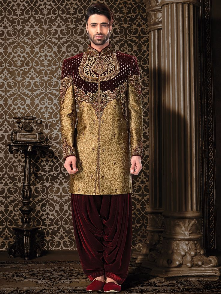 Shop Maroon gold jamavar indo western online from G3fashion India. Brand - G3, Product code - G3-MIW1055, Price - 30995, Color - Gold, Maroon, Fabric - Jamawar,