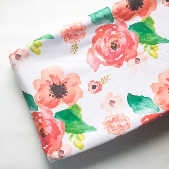 Changing Pad Cover Floral Dreams White Floral Changing by ModFox