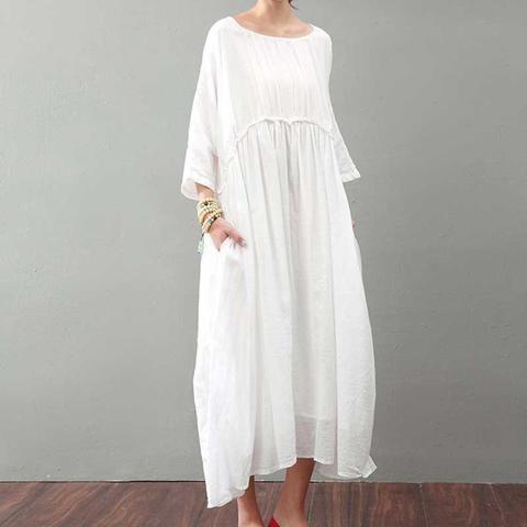 A-Line Loose Fit Linen & Cotton Dress
