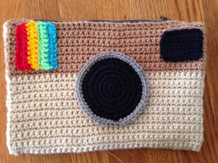 Crochet pencil case I made for my daughter with lining.