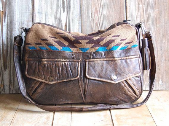 Tundra in reclaimed brown leather and navajo fabric by hoakonhelga
