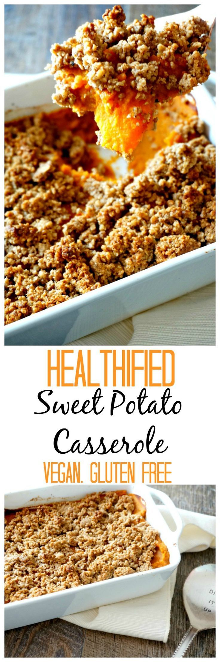 Healthified Sweet Potato Casserole: A lightened up, naturally sweetened version of sweet potato casserole.. Vegan. Gluten Free.