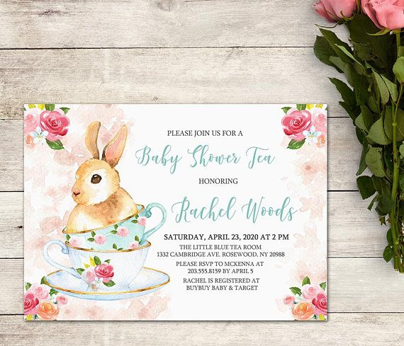 Baby Shower Tea Party Invitation, Bunny Tea Party Invitation, Baby Shower Girl, Easter Baby Shower, Shabby Chic Tea Party, Watercolor Floral #teaparty ...
