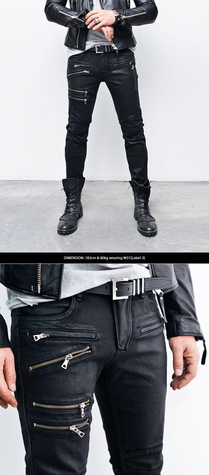 coated multi zipper black skinny biker jeans style pinterest biker jeans bikers and skinny. Black Bedroom Furniture Sets. Home Design Ideas
