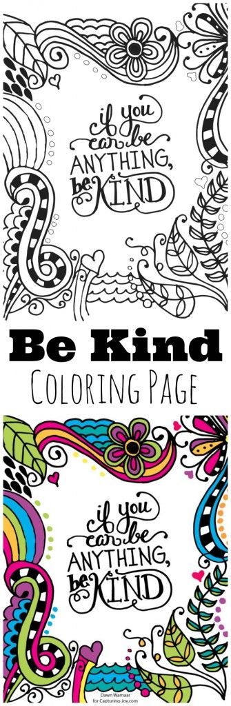 Be Kind Kids Coloring Page
