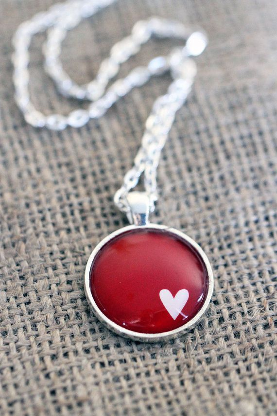 White Heart on Ruby Red silver or bronze