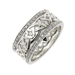 Our Dreams Diamond set Celtic ring, shown here in 18ct white gold