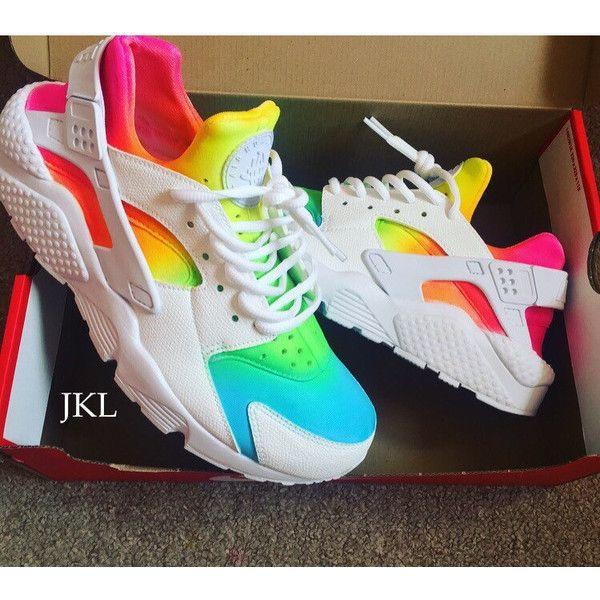 23065a5b5f444 White Rainbows Nike Air Huarache Nike Huarache Tie Dye Summer Huarache...  ( 183) ❤ liked on Polyvore featuring shoes