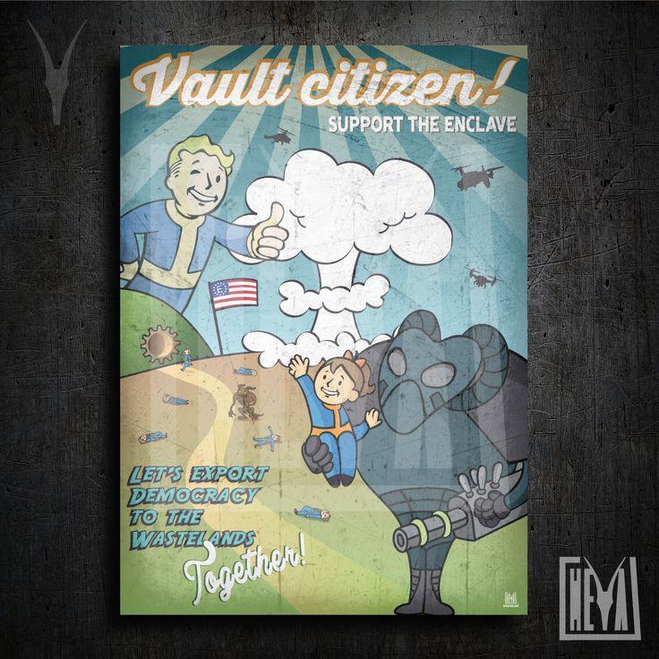 Poster da collezione 50x70 cm - Fallout. L'enclave è il futuro della Democrazia - Design originale Heya di HeyaStore su Etsy