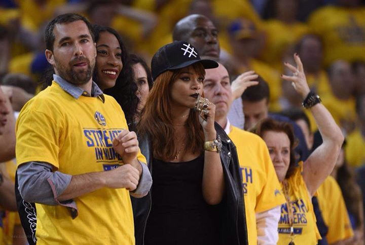 Rihanna sits in courtside seats while attending the first game of the 2015 NBA Finals on Thursday (June 4) at the Oracle Arena in Oakland, Calif.  The 27-year-old singer was joined by her BFF Melissa Forde and she was seen sitting next to Golden State Warriors owner Joe Lacob.  PHOTOS: Check out the latest pics of Rihanna