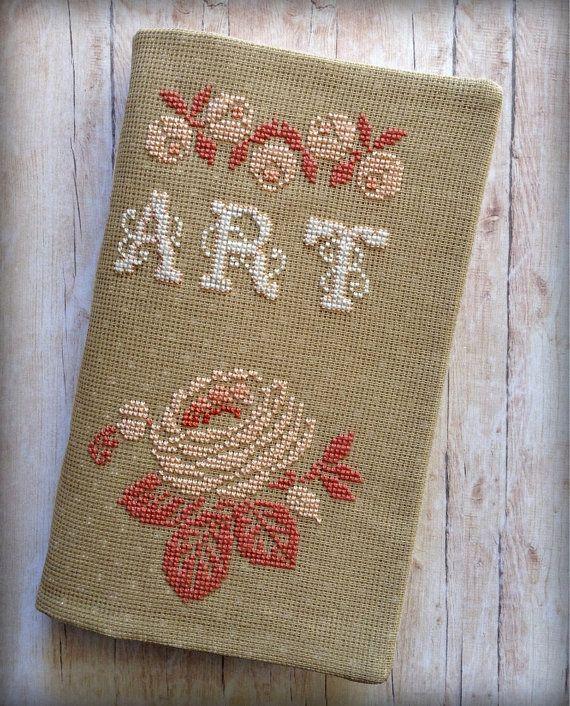Cross Stitched Art Journal. Watercolour by AStoryFullOfJournals