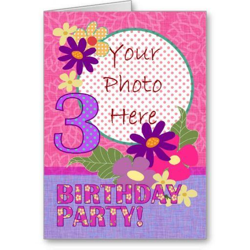 Three Year Old Birthday Party Invitation Photocard