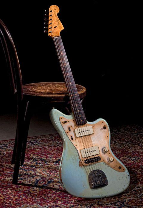 Old blue Fender guitar