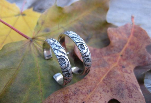 wood grain ring THIN PLYWOOD sterling 4mm woodland by ballandchain