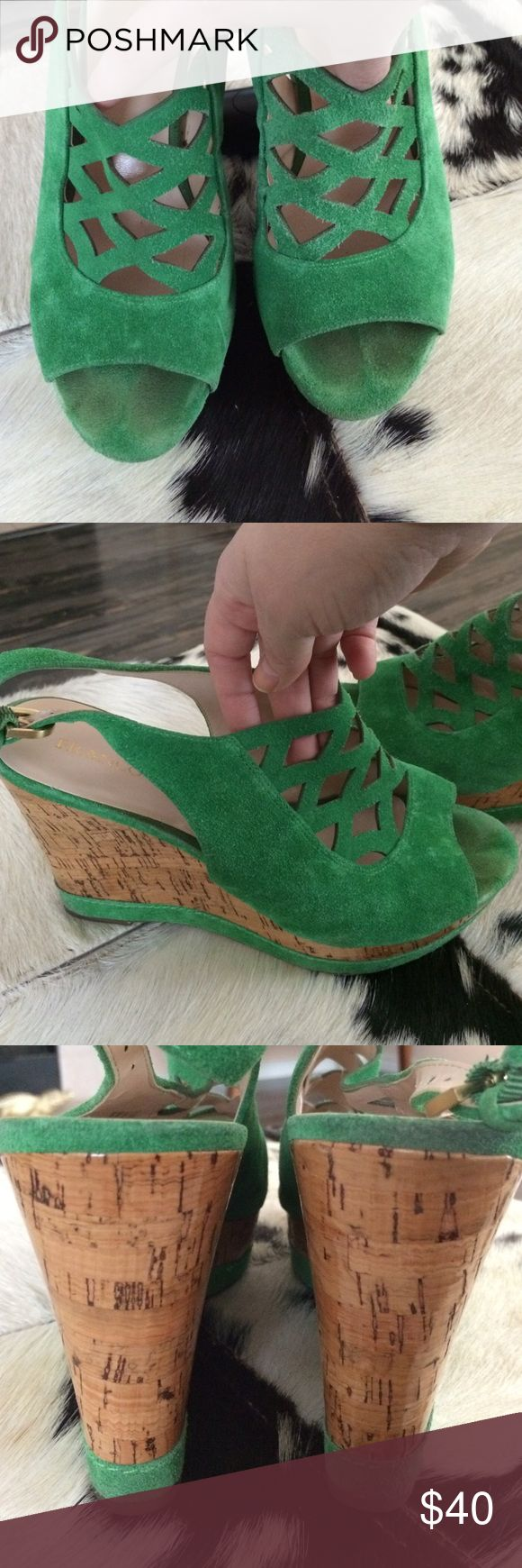 💚Vibrant Green Suede Cork Wedges💚 💚Vibrant Green Suede Cork Wedges💚 -- these have a lot of wear left! Minor suede imperfections from normal wear - glossy cork wedge - 4 inch height -- lattice detail makes these cute but with an edge ✨ Franco Sarto Shoes