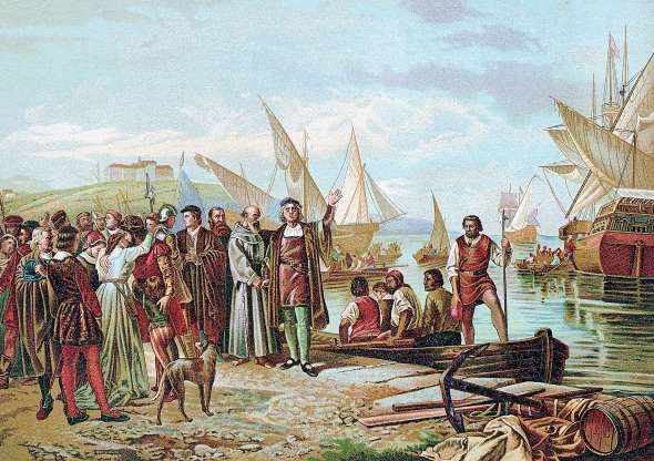 August 3 1492 Columbus Sets Sail Christopher Columbus Sets Sail From Palos Spain On A Voyage That Took Christopher Columbus History Geek Today In History