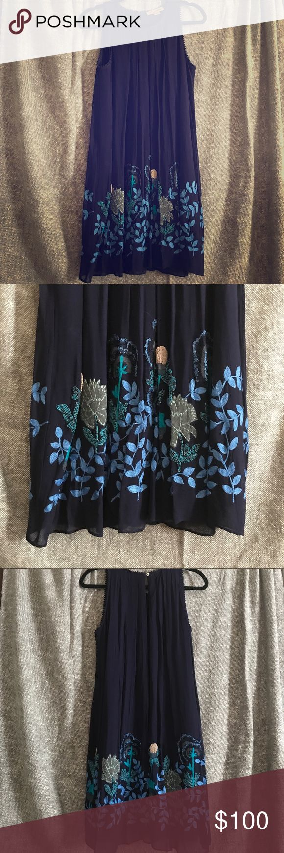Navy blue, beaded summer dress, barely worn Navy summer dress perfect for daytime or going out! High neck, hits at the knee with beaded floral embellishment around the hemline. True to size. Only worn twice. Anthropologie Dresses Midi