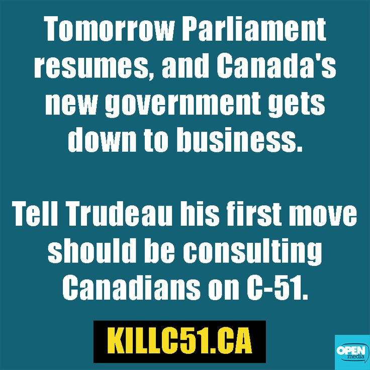 Tell Trudeau it's time to talk C-51 before new legislation is introduced: http://om4.me/ZJz