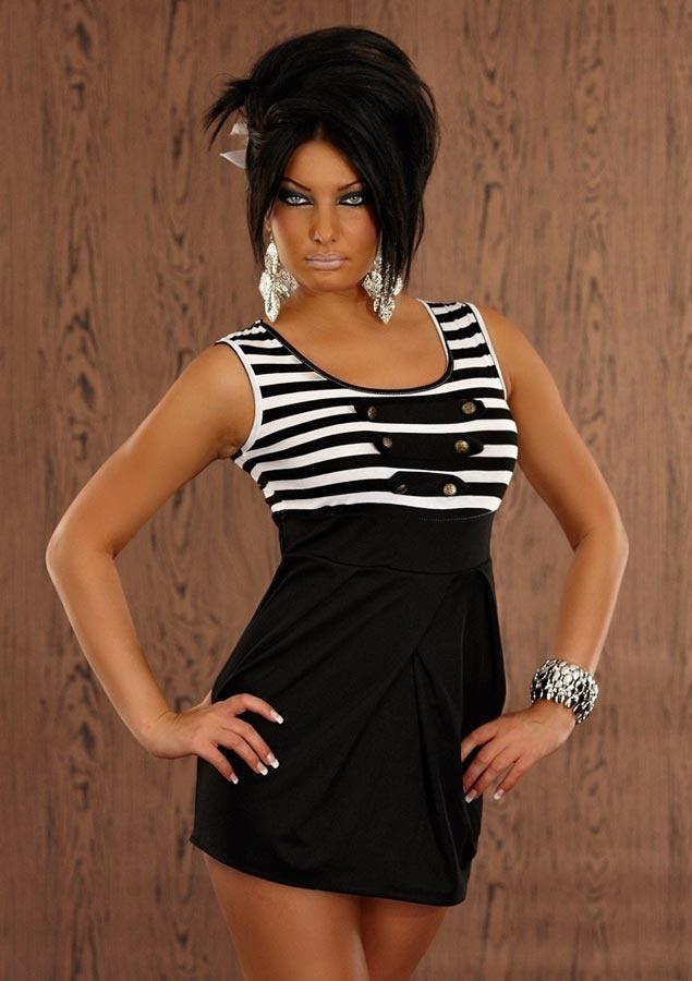 robe courte noir classe rayures marine avec larges bretelles femme fashion sexy par. Black Bedroom Furniture Sets. Home Design Ideas