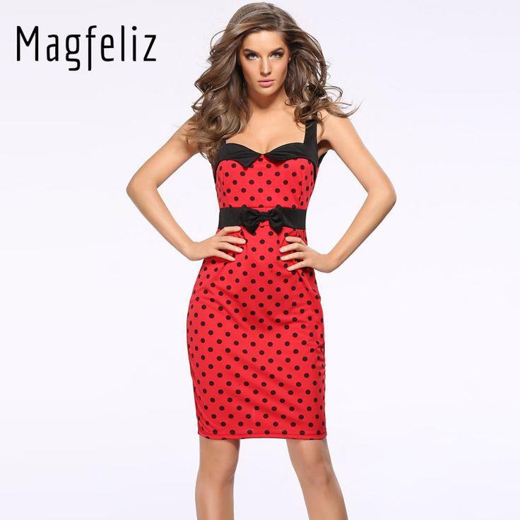 Magfeliz 2017 Sexy Summer Women sleeveless package hip Slim dress polka dot Vestito Casual Mini Dresses 604