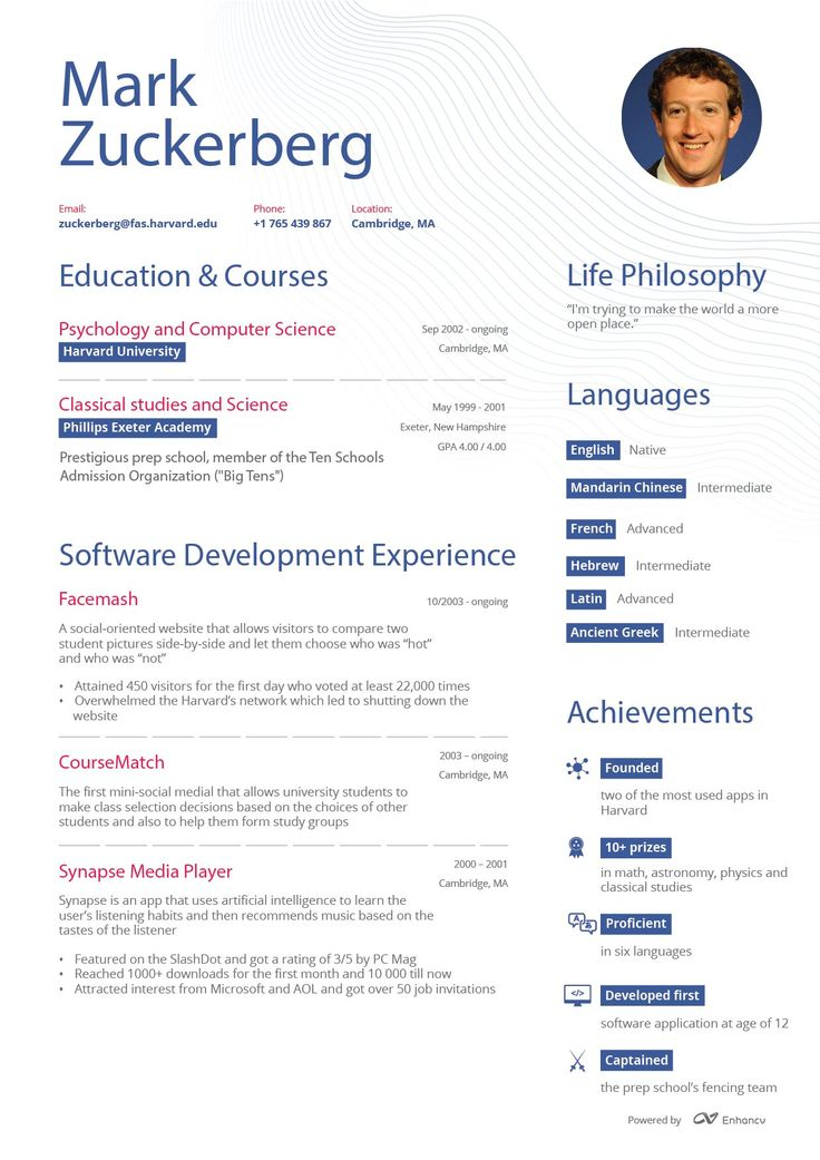 12 best refer images on Pinterest Sample resume, Executive - mark zuckerberg resume