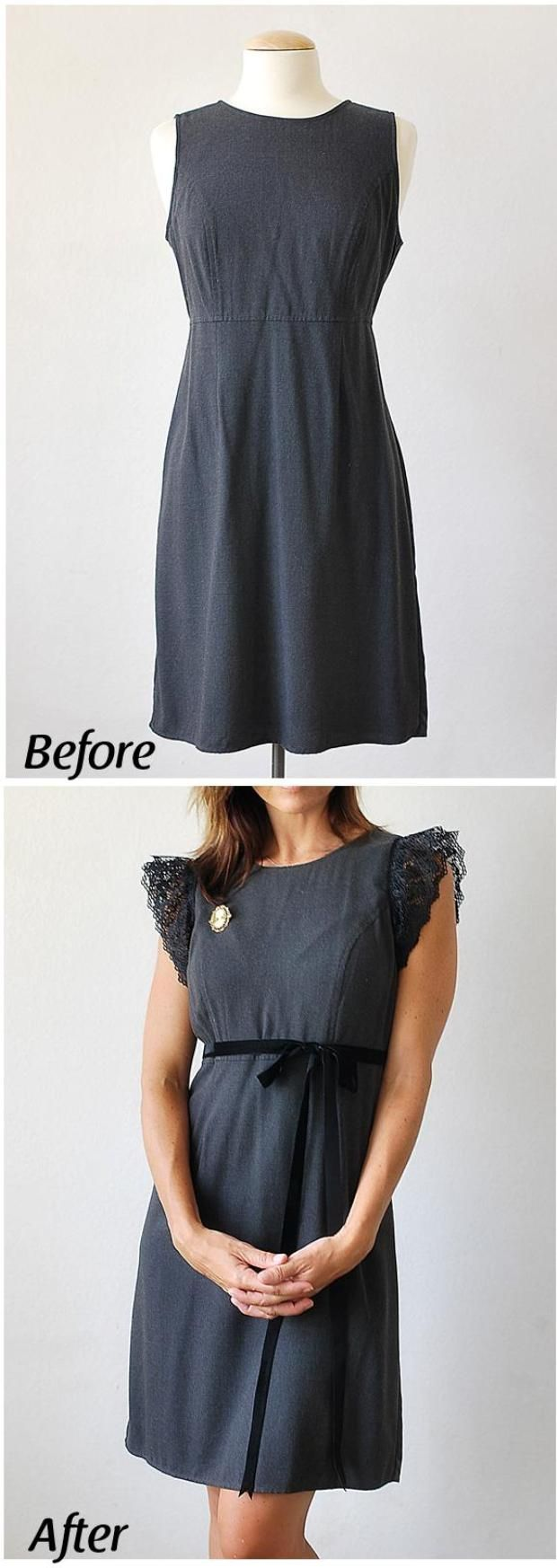 Fabulous Upcycled Clothing Projects Gray Gap dress makeover --- you could do something like this with ANY sleeveless outfit