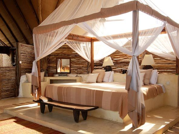 A Sensual haven at Sand Rivers Selous in #Tanzania. #Romance #Beds #africa #weloveafrica