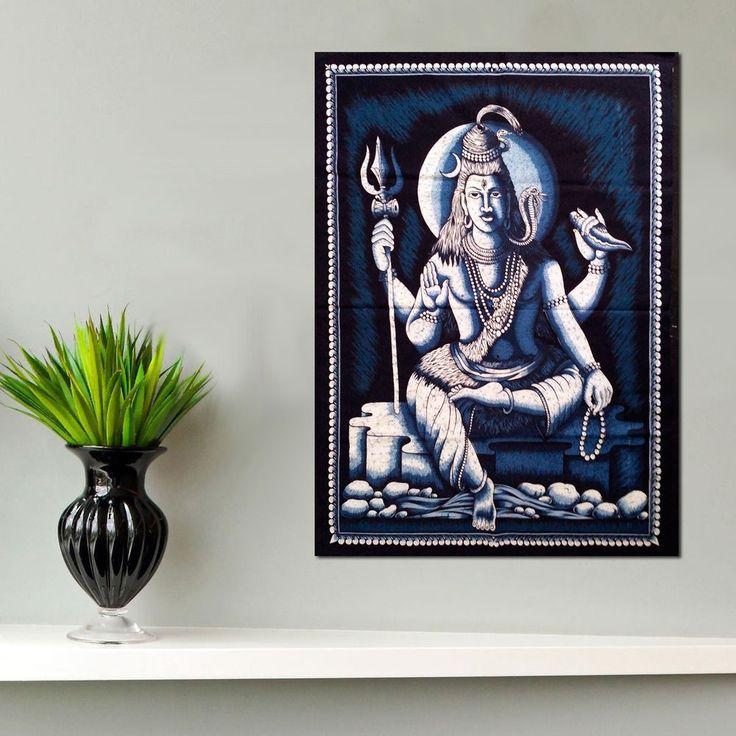 hindu shiva blessing batik coton wall hanging tapestry painted decor art indian #rainbowhandicraft