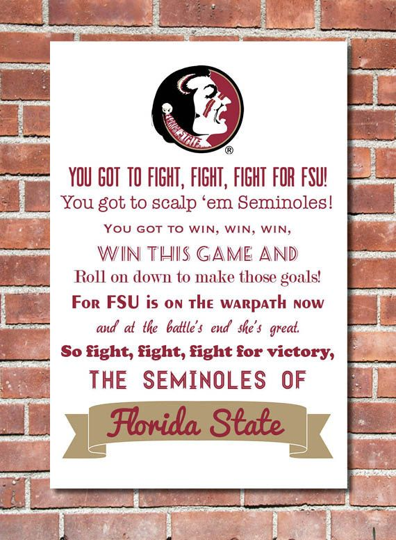 totally pinning this because I occasionally forget to words :)12 x 16 Florida State University Fight Song Poster via Etsy