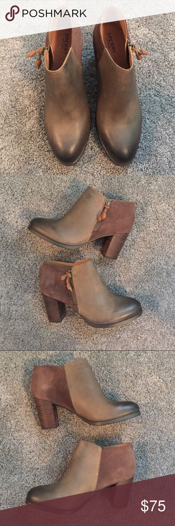 "1 Day Sale: Sperry Booties NWOT Sperry Dasher Lillie ankle booties in ""khaki."" The front is a leather material in brown, and the back of the boogie is faux brown suede. They have zippers on the outside. The heel is three inches! Make me an offer 💕 Sperry Top-Sider Shoes Ankle Boots & Booties"