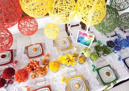 Rainbow Reception Table Setting and Decor!